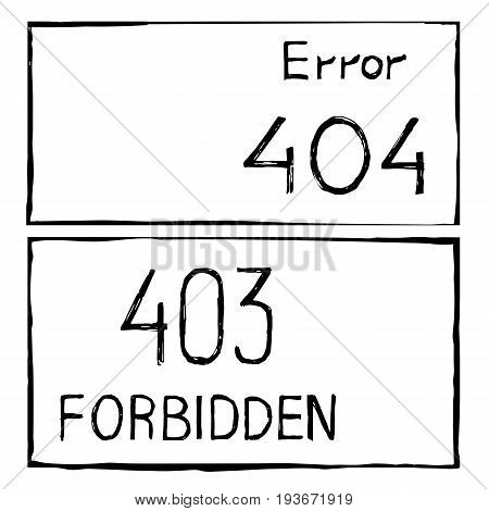 Drawn vector sketch abstrac sett background 404 and 403 connection error.