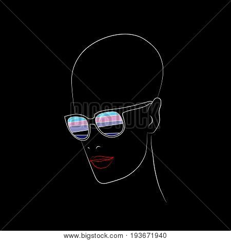 Stylized face with glasses using original colors for leather. Unconventional sexual orientation for LGBT gay and lesbian parade. Vector t-shirt print design