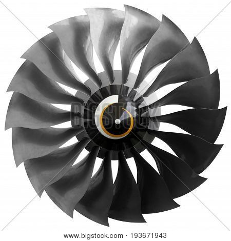 The fan of an aircraft engine isolated on white background.