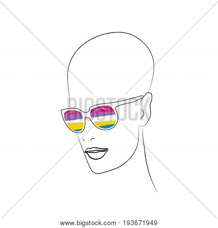 Stylized face with glasses using original colors for pansexual. Unconventional sexual orientation for LGBT gay and lesbian parade. Vector t-shirt print design