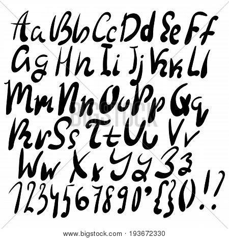 Handwritten lettering vector font aphabet. Stock vector.