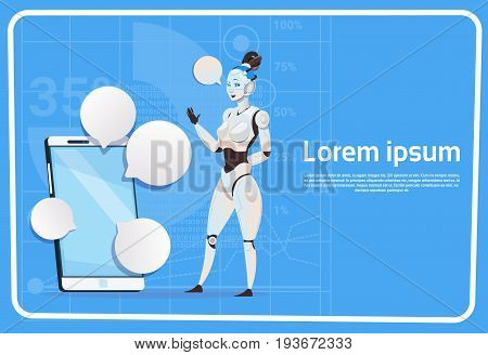 Modern Robot Female And Cell Smart Phone Chat Bubble Social Media Communication Artificial Intelligence Technology Concept Flat Vector Illustration