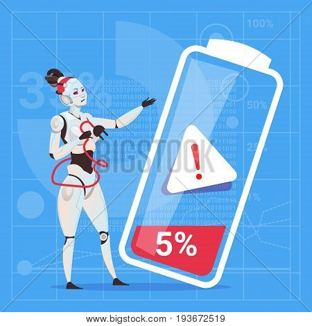 Modern Robot Female Tired With Low Battery Charge Futuristic Artificial Intelligence Technology Concept Flat Vector Illustration
