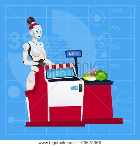 Modern Robot Female Work In Shopping Mall Cashier In Supermarket Futuristic Artificial Intelligence Technology Concept Flat Vector Illustration