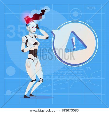 Modern Robot Female Warning Message Error Futuristic Artificial Intelligence Technology Concept Flat Vector Illustration