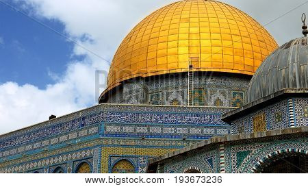 Dome of the Rock in Jerusalem over the Temple Mount. Golden Dome is the most known mosque and landmark in Jerusalem and sacred place for all muslims.