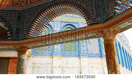 Mosaic details of Dome of the Rock mosque in Jerusalem. Golden Dome is the most known mosque and landmark in Jerusalem and sacred place for all muslims.