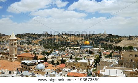 Jerusalem panoramic aerial view. Jerusalem is most sacred place for religious people christians muslims and jews. It's most touristic place on the planet as well.