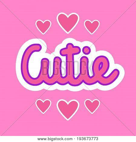 Cutie Sticker Social Media Network Message Badges Design Vector Illustration