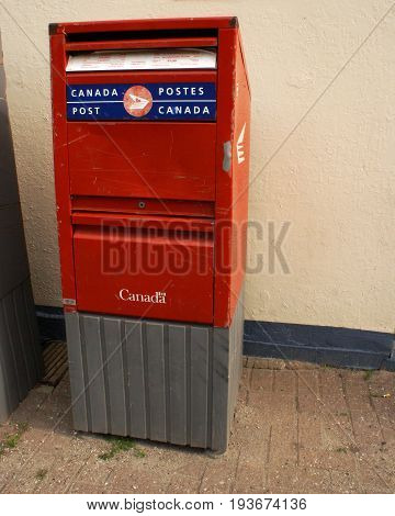 ONTARIO CANADA JUNE 10 2017 EDITORIAL IMAGE OF A CANADA POST MAILBOX FOR STANDARD SERVICES.