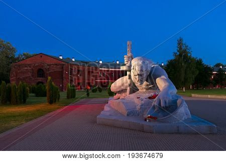 Brest, Belarus - June 21, 2017: The Thirst Sculpture In War Memorial Complex Brest Hero Fortress. Br