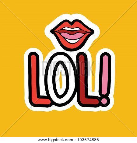 Lol Sticker Social Media Network Message Badges Design Vector Illustration