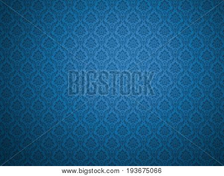 Blue damask wallpaper with royal floral patterns