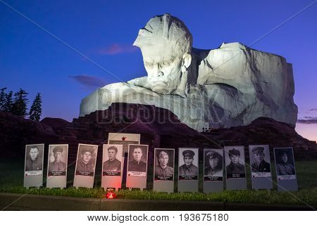 Brest, Belarus - June 21, 2017: The Monument To Soviet Soldiers And Photos Of Defenders In Memorial