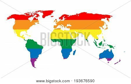 LGBT rainbow pride flag in a shape of World map. Lesbian, gay, bisexual, and transgender stylish design element. Simple flat vector illustration.