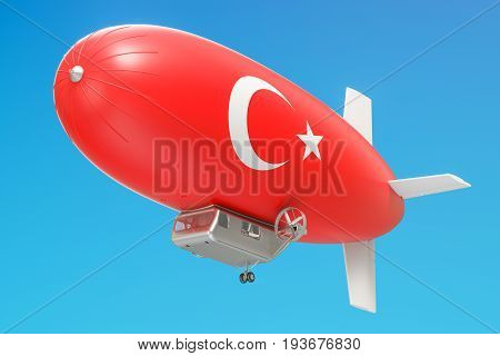 Airship or dirigible balloon with Turkish flag 3D rendering
