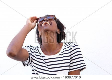 Cheerful Young Afro American Woman With Sunglasses