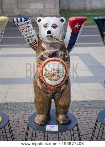 BERLIN GERMANY - JULY 3 2017: United Buddy Bears: Cuba Bear At Wittenbergplatz Square In Berlin