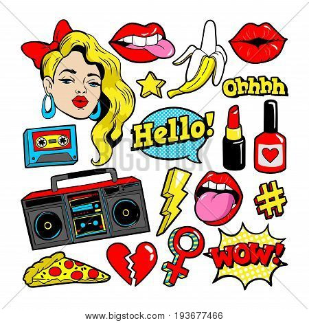 Fashion patch badges with woman, lips, tape recorder and other elements. Vector illustration isolated on white background. Set of stickers, pins, patches in cartoon 80s-90s pop-art comic style.