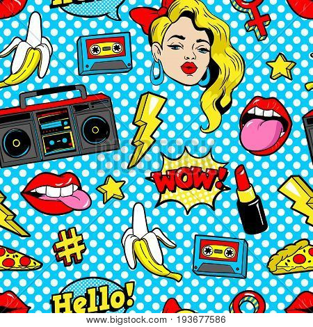 Seamless pattern with fashion patch badges with woman, lips, tape recorder, speech bubbles and other elements. Vector background with stickers, pins, patches in cartoon 80s-90s pop-art comic style.