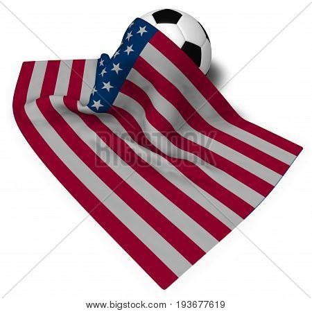 soccer ball and flag of the usa - 3d rendering