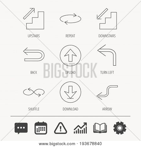 Arrows icons. Download, repeat and shuffle linear signs. Upload, back arrow flat line icons. Education book, Graph chart and Chat signs. Attention, Calendar and Cogwheel web icons. Vector