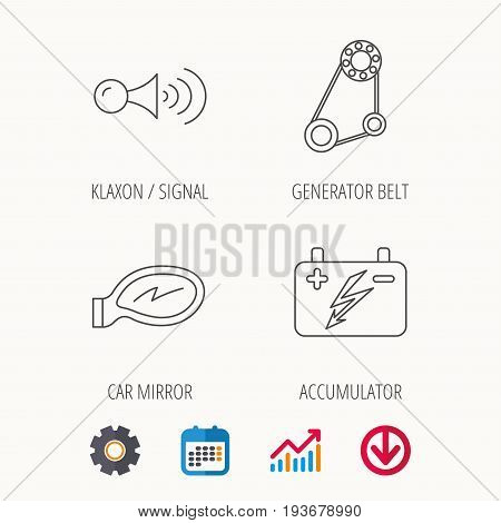 Accumulator, klaxon signal and generator belt icons. Accumulator linear sign. Calendar, Graph chart and Cogwheel signs. Download colored web icon. Vector