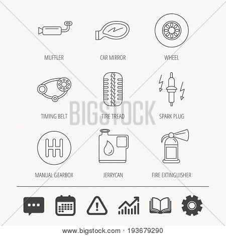 Wheel, car mirror and timing belt icons. Fire extinguisher, jerrycan and manual gearbox linear signs. Muffler, spark plug icons. Education book, Graph chart and Chat signs. Vector