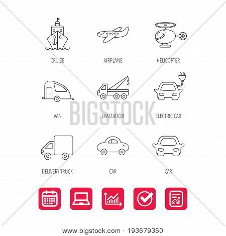 Transportation icons. Car, ship and truck linear signs. Airplane, helicopter and evacuator flat line icons. Report document, Graph chart and Calendar signs. Laptop and Check web icons. Vector