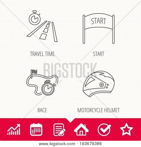 Motorcycle helmet, race timer and travel time icons. Start race linear sign. Edit document, Calendar and Graph chart signs. Star, Check and House web icons. Vector