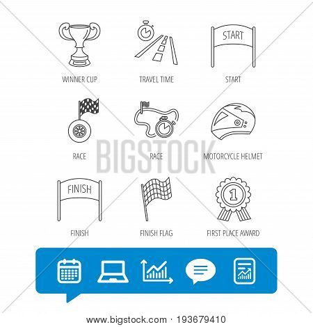 Winner cup and award icons. Race flag, motorcycle helmet and timer linear signs. Road travel, finish and start flat line icons. Report file, Graph chart and Chat speech bubble signs. Vector