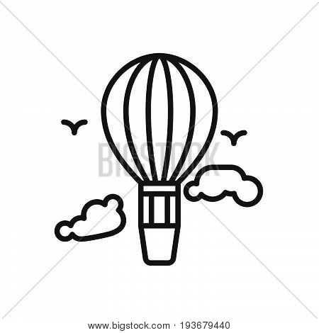 Hot air balloon line icon outline vector sign linear style pictogram isolated on white. Symbol logo illustration. Editable stroke. Pixel perfect graphics