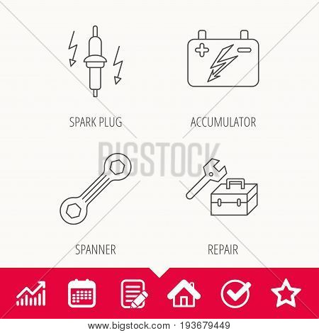 Accumulator, spanner tool and car service icons. Repair toolbox, spark plug linear signs. Edit document, Calendar and Graph chart signs. Star, Check and House web icons. Vector
