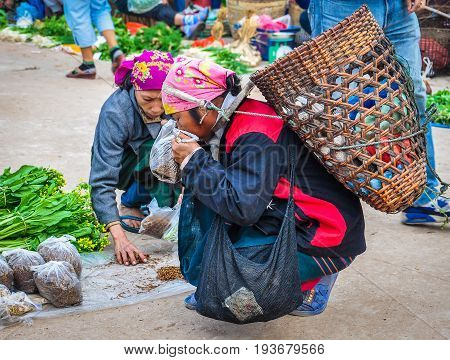 MUANG SING, LAOS - DECEMBER 28, 2012: Woman with a bag in the morning market in the village of Muang Sing Laos
