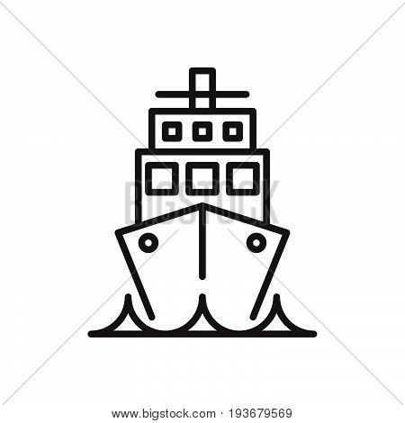 Ship Cruise liner line icon outline vector sign linear style pictogram isolated on white. Voyage symbol logo illustration. Editable stroke. Pixel perfect graphics