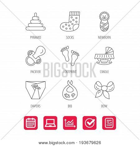 Pacifier, diapers and newborn icons. Footprint, socks and dirty bib linear signs. Pyramid toy, cradle bed flat line icons. Report document, Graph chart and Calendar signs. Laptop and Check web icons