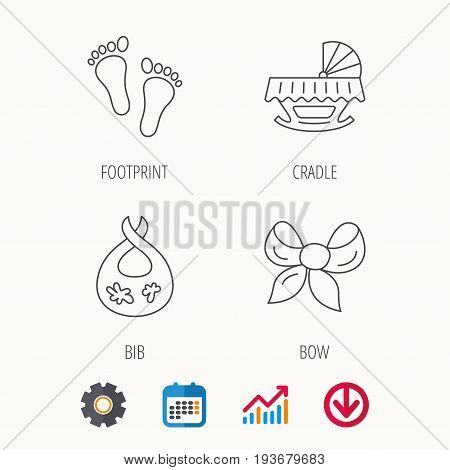 Footprint, cradle and dirty bib icons. Bow linear sign. Calendar, Graph chart and Cogwheel signs. Download colored web icon. Vector
