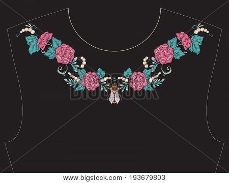 Embroidery for neckline, collar for T-shirt, blouse, shirt. Pattern of flowers and bees. Stock vector illustration. On black background.