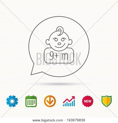Baby face icon. Newborn child sign. Use of nine months and plus symbol. Calendar, Graph chart and Cogwheel signs. Download and Shield web icons. Vector