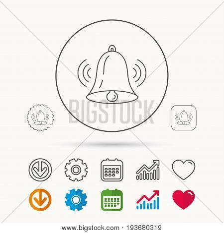 Ringing bell icon. Sound sign. Alarm handbell symbol. Calendar, Graph chart and Cogwheel signs. Download and Heart love linear web icons. Vector
