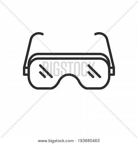Safety glasses line icon outline vector sign linear style pictogram isolated on white. Protective goggles symbol logo illustration. Editable stroke. Pixel perfect graphics