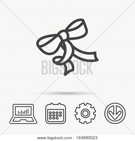 Gift bow icon. Present decoration sign. Ribbon for packaging symbol. Notebook, Calendar and Cogwheel signs. Download arrow web icon. Vector