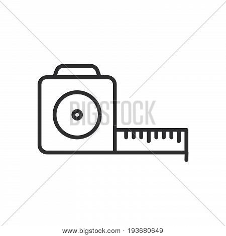Tape measure roll line icon outline vector sign linear style pictogram isolated on white. Symbol logo illustration. Editable stroke. Pixel perfect graphics