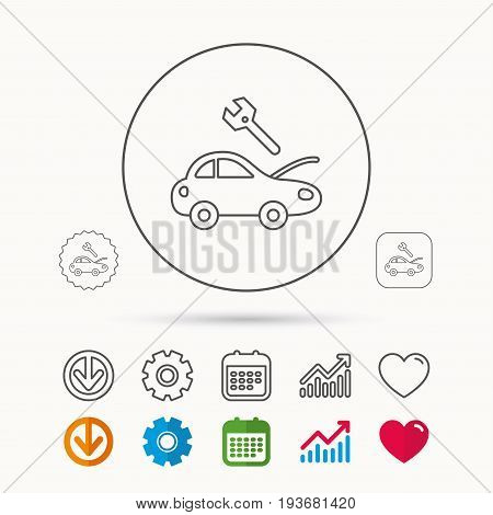 Car service icon. Transport repair with wrench key sign. Calendar, Graph chart and Cogwheel signs. Download and Heart love linear web icons. Vector
