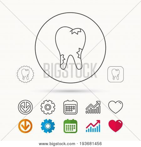 Caries icon. Tooth health sign. Calendar, Graph chart and Cogwheel signs. Download and Heart love linear web icons. Vector