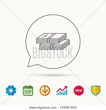 Cash icon. Dollar money sign. USD currency symbol. 2 wads of money. Calendar, Graph chart and Cogwheel signs. Download and Shield web icons. Vector