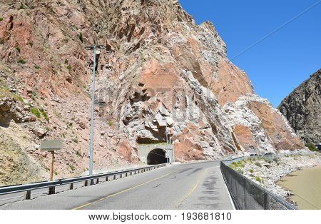 CODY, WYOMING - JUNE 24, 2017: Shoshone Canyon Tunnel, The tunnel adjacent to the Buffalo Bill Dam, the longest in Wyoming, is on the Yellowstone Highway.