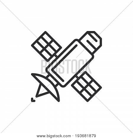 Satellite line icon outline vector sign linear style pictogram isolated on white. Symbol logo illustration. Editable stroke. Pixel perfect graphics