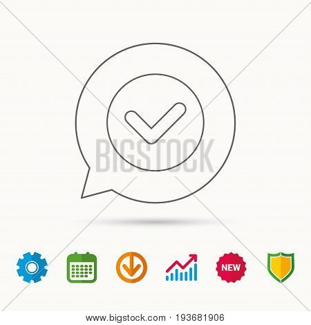 Check confirm icon. Tick in circle sign. Calendar, Graph chart and Cogwheel signs. Download and Shield web icons. Vector