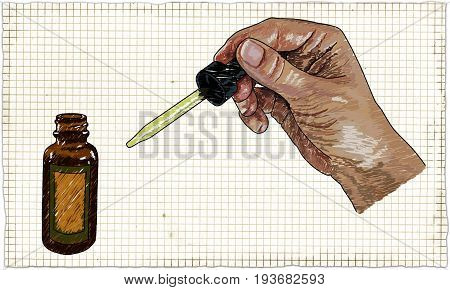 Illustration with Doctor Hand Medical Drops and Bottle